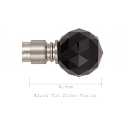 Black Cut Glass Finial